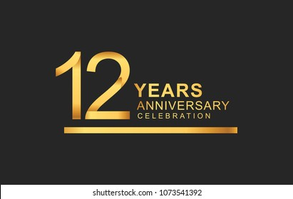 12 years anniversary logotype with under line golden color for anniversary celebration