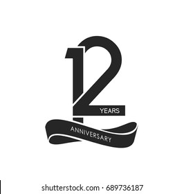 12 years anniversary pictogram vector icon, 12 years birthday logo label, black and white stamp isolated