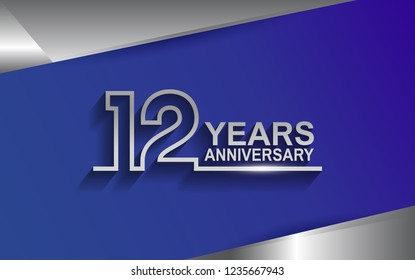 12 years anniversary silver color line style isolated on blue background