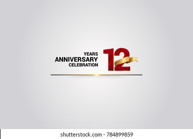12 Years anniversary using red elegant number isolated on white background, with golden ribbon ca be use as celebration event logo