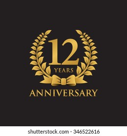 12 years anniversary wreath ribbon logo black background