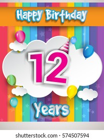 12 Years Birthday Celebration With Balloons And Clouds Colorful Vector Design For Invitation Card