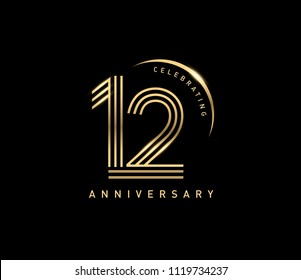 12 years gold anniversary celebration simple logo, isolated on dark background. celebrating Anniversary logo with ring and elegance golden color vector design for celebration,