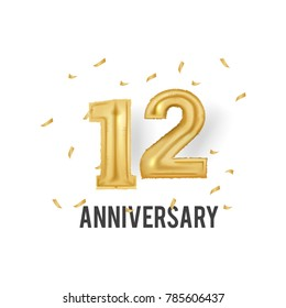 12 Years Golden Aluminum Foil Balloon anniversary logotype with golden confetti isolated on white background