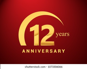 12 years golden anniversary logo with golden ring isolated on red background, can be use for birthday and anniversary celebration.