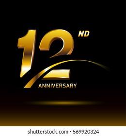 12 years golden anniversary logo celebration