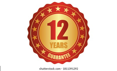 12 years guarantee stamp icon or a guarantee tag, badge, label, original certified concept seal vector illustration, logo isolated on white background and golden red text