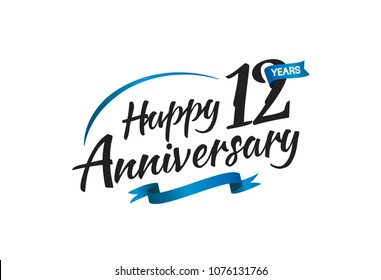 12 years happy anniversary celebration with blue swoosh and blue ribbon isolated on white background