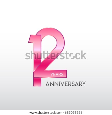 12 Years Pink Anniversary Overlapping Number Stock Vector Royalty
