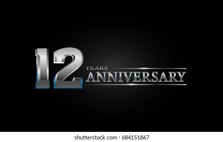 12 Years silver anniversary celebration logo, anniversary for celebration, birthday, wedding and party