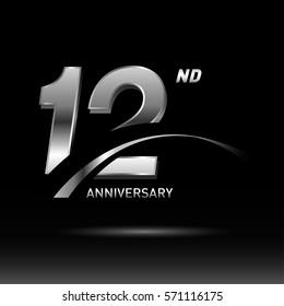 12 years silver anniversary logo celebration
