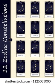 12 zodiac constellations in window on night sky view frame vector set.