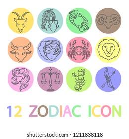 12 Zodiac / Horoscope colorful icon set