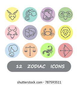 12 Zodiac horoscope icons vector design