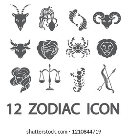 12 Zodiac / Horoscope outline icon set
