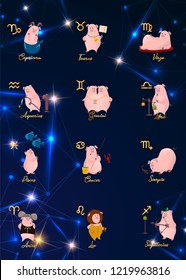 12 zodiac vector signs constellation as a pig, symbol of 2019. Flat geometrical icon in decorative style with lettering. For horoscopes and calendars.