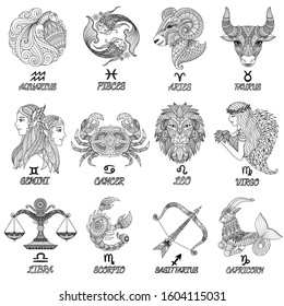 12 zodiacs sihouette, line art for engraving, tattoo, adult coloring book,t shirt design and so on. Vector illustration