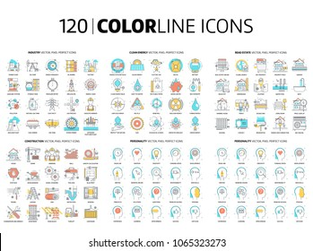 120 Color line icons, illustrations, icons, backgrounds and graphics. The illustration is colorful, flat, vector, pixel perfect, suitable for web and print. It is linear stokes and fills.