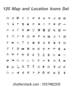 120 Map and Location icon set vector
