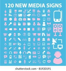 120 media icons, signs, vector illustrations