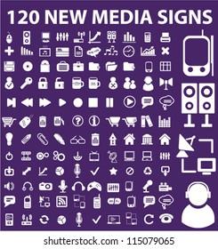 120 new media icons set, vector