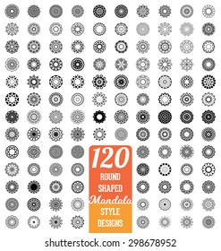 120 Round shaped Mandala style design collection - mega set of calligraphic ornamental elements