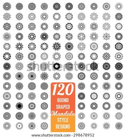 49b6e70c5d 120 Round shaped Mandala style design collection - mega set of calligraphic  ornamental elements