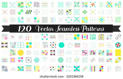 120 Seamless patterns. Vector bundle for background, fabrics, surface textures, wallpaper, web and blog backgrounds, scrapbook. Set of colored geometric endless textures.
