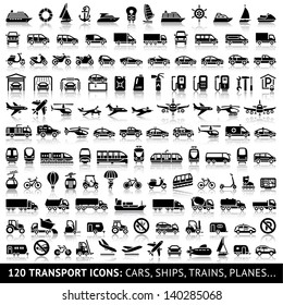 120 Transport icon with reflection: Cars, Ships, Trains, Planes..., vector illustrations, set silhouettes isolated on white background.