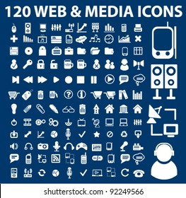 120 web media icons set, vector illustrations