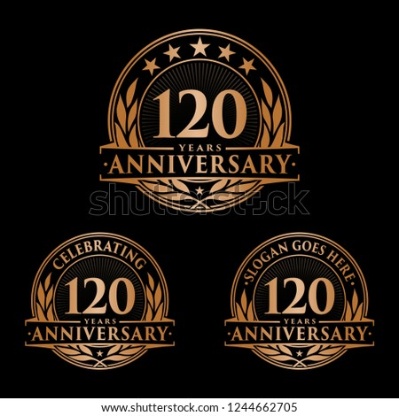 6f47909511 120 years anniversary set. 120th celebration logo collection. Vector and  illustration.