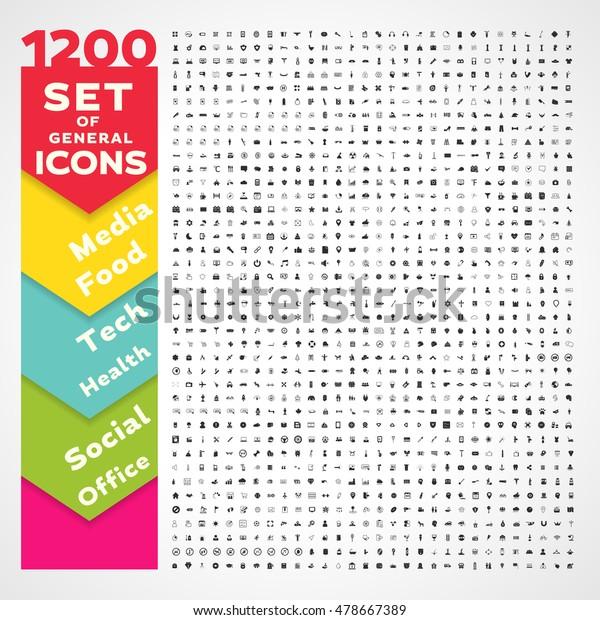 1200 Universal icons pack. General icons set.