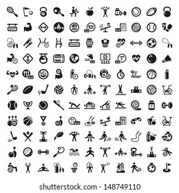 121 Fitness and Sport vector icons for web and mobile. All elements are grouped.