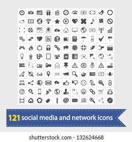121 Social media and network icons. Vector illustration.