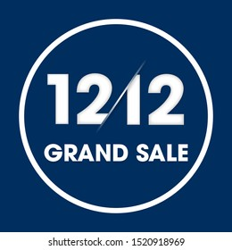 12.12 Grand Sale Day Poster or Flyer for Global Shopping Day. Eps10 vector illustration