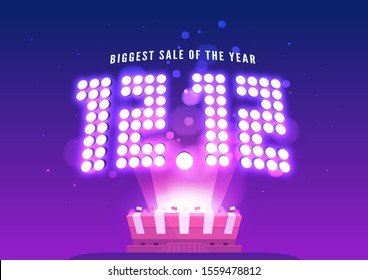 12.12 Online Shopping sale poster or flyer design. Singles day sale banner. Global shopping world day.