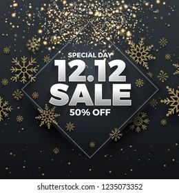 12.12 Shopping day sale banner background. 12 December sale poster template. Vector illustration