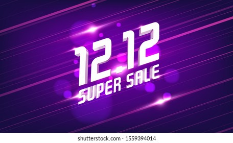 12.12 Super sale discount banner template promotion design. 12.12 Crazy sales online.