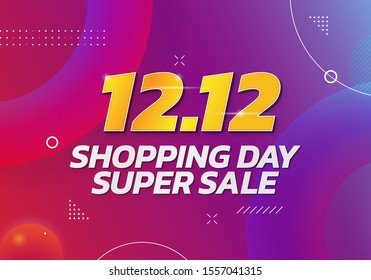 12.12 World Shopping Day Super Sale poster background. Double 12 December online shop social media banner promotion template vector design with colorful abstract style illustration