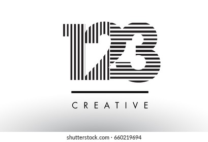 123 Black and White Number Logo Design with Vertical and Horizontal Lines.