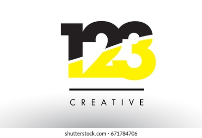 123 Black and Yellow Number Logo Design cut in half.