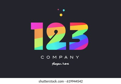 123 creative color green orange blue magenta pink number digit company logo vector icon spectrum