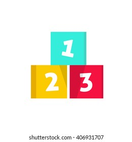 123 cubes vector illustration, building blocks with numbers, logo design element, concept of children game symbol, education, isolated on white background