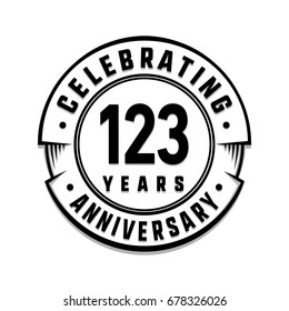 123 years anniversary logo template. Vector and illustration.