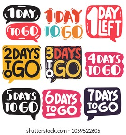 1,2,3,4,5,6,7 days to go. Hand drawn vector illustrations on white background.