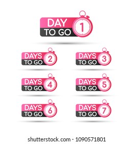 1,2,3,4,5,6,7 days to go. Vector hand drawn speech bubbles set illustration on white background