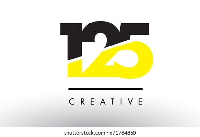 125 Black and Yellow Number Logo Design cut in half.