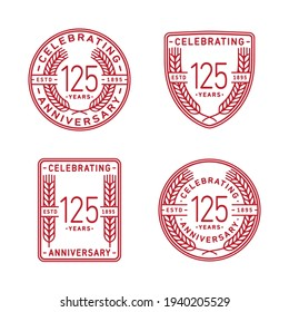 125 years anniversary celebration logotype. 125th anniversary logo collection. Set of anniversary design template. Vector and illustration.