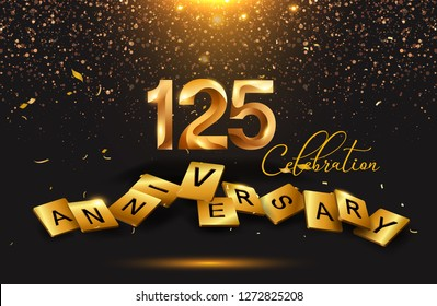 125 years anniversary celebration with signature lettering. Poster or brochure template. Vector illustration. - Vector