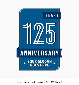 125 years anniversary design template. Vector and illustration.